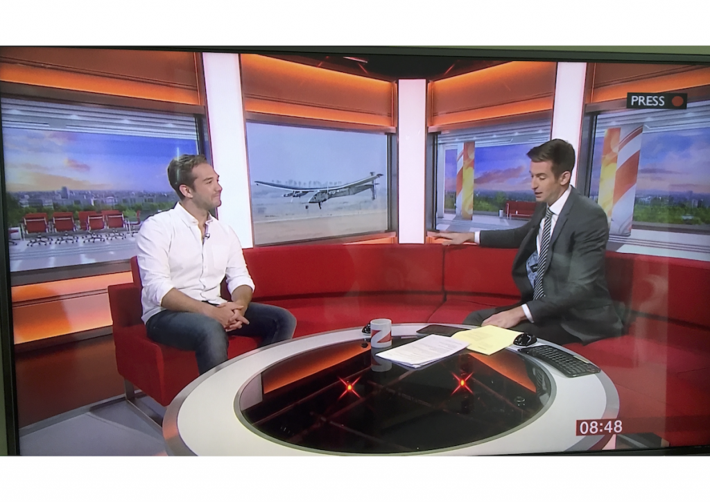 Talking about the Solar Impulse plane on BBC Breakfast show